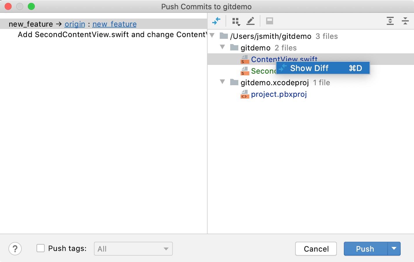 Push commits