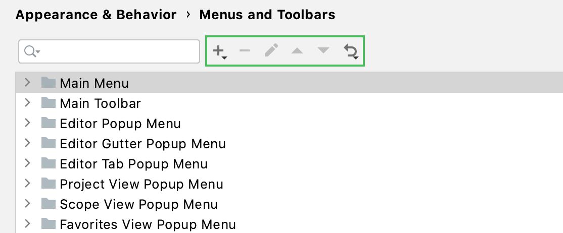 the Menus and Toolbars settings