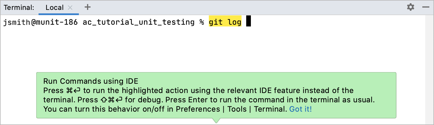 Smart command execution highlighting for git log in the terminal