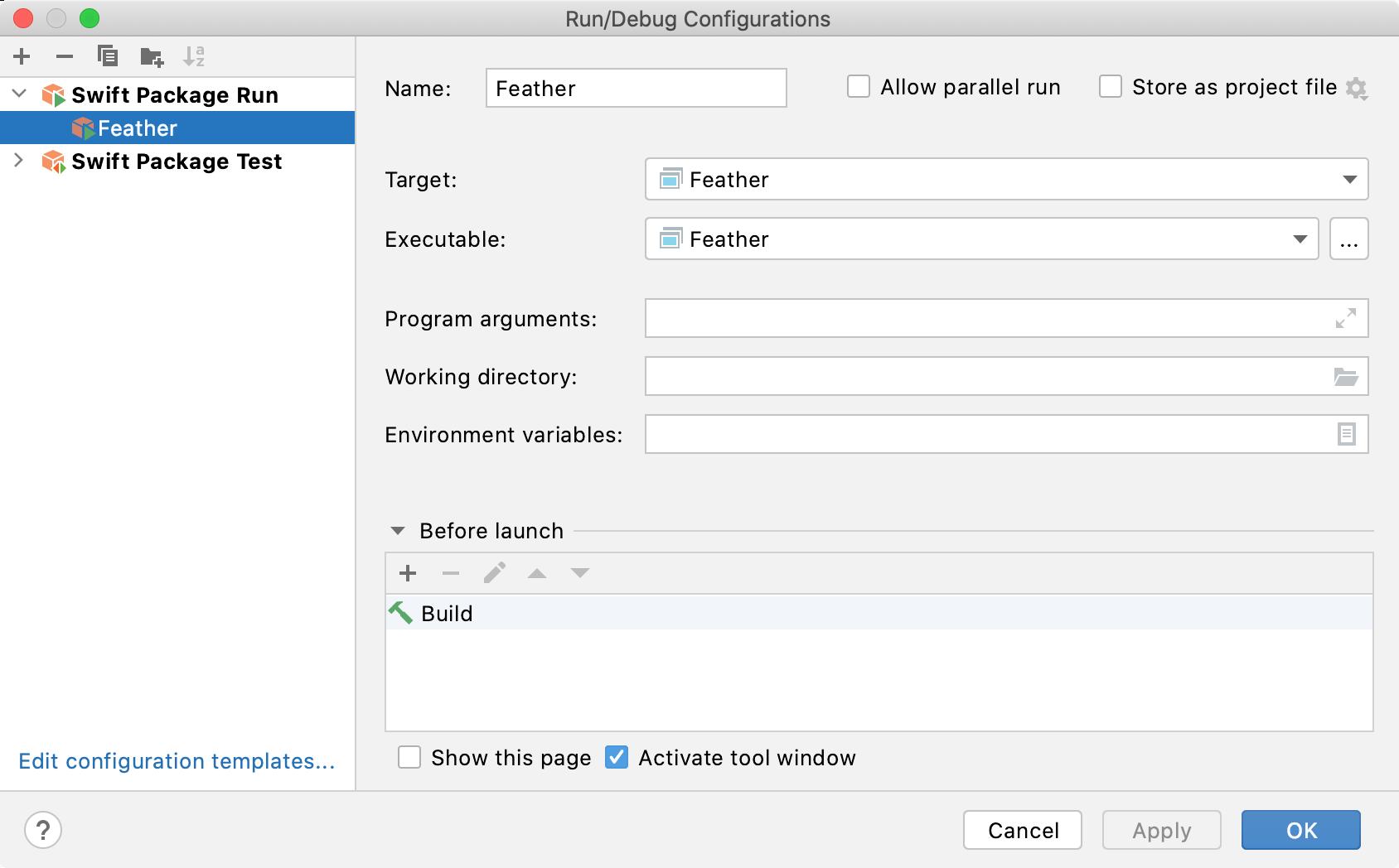Swift package run/debug configuration