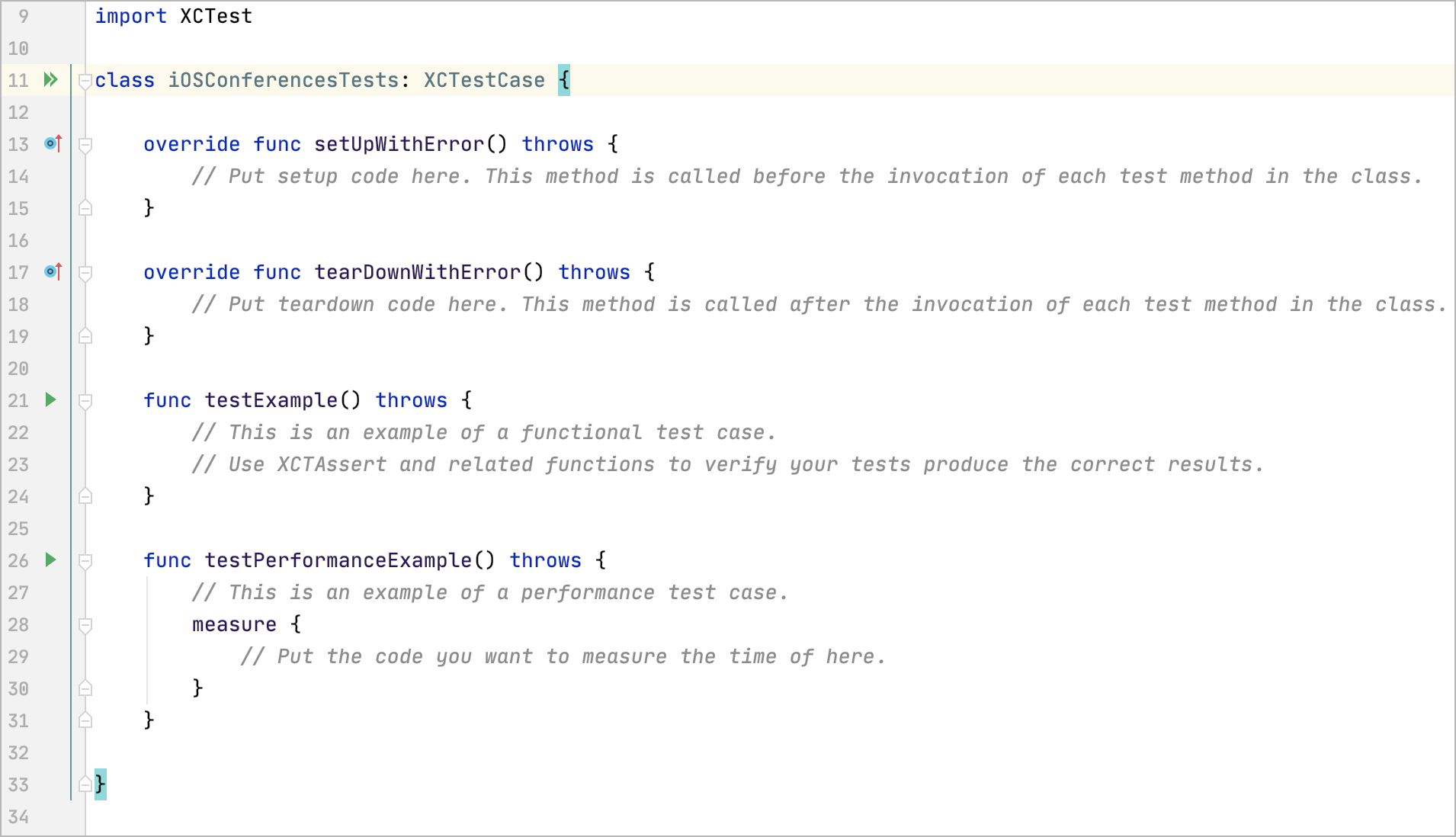 Stub code for an XCTest class