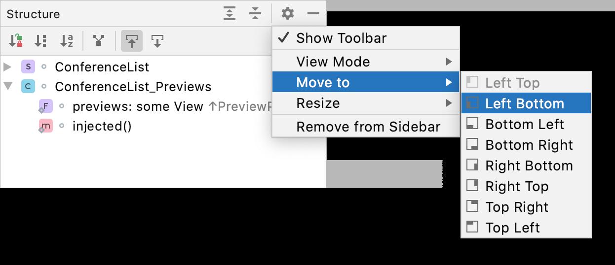 Tool window options menu: Move to