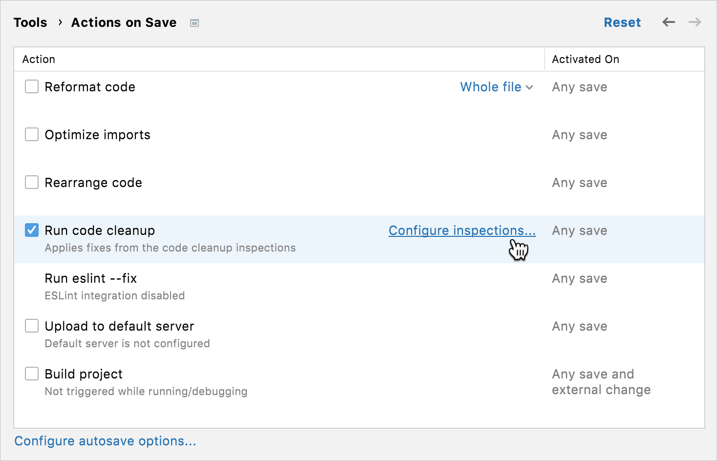 Settings/Preferences: Actions on save