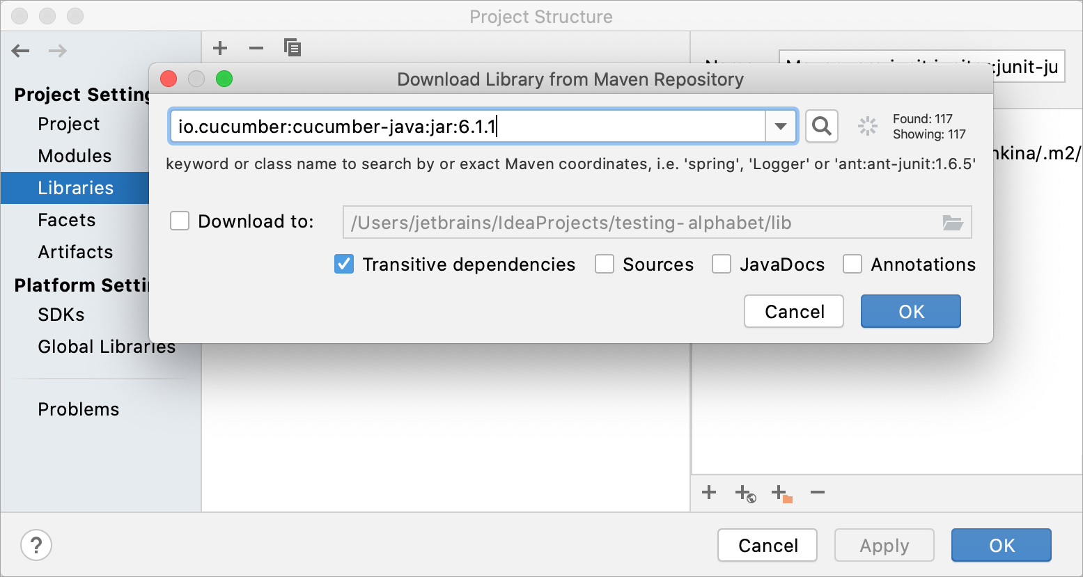 Adding a Cucumber library to a project