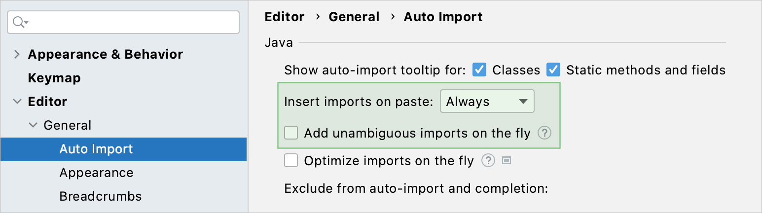 Add unambiguous imports on the fly checkbox