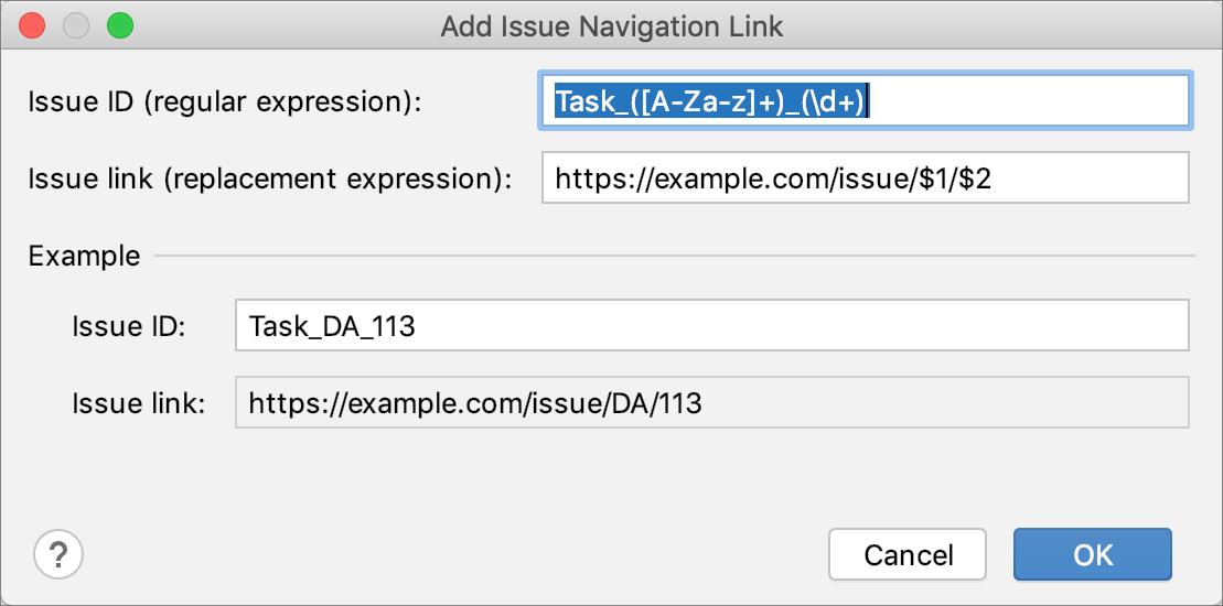 Add Issue Navigation Link dialog