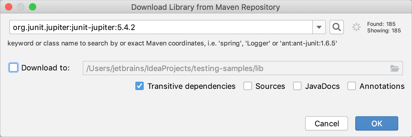 Manually adding a testing library to a project