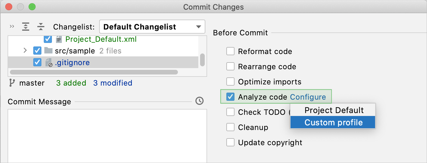 Modal Commit dialog