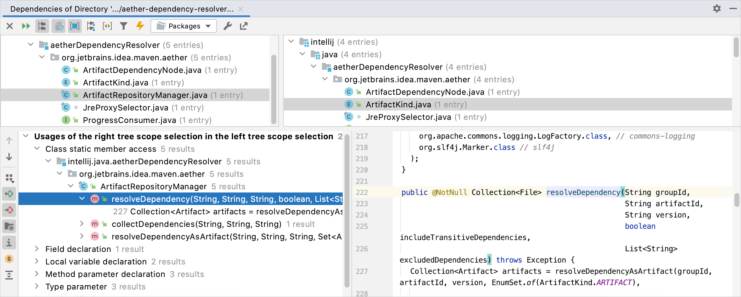 Dependencies analysis results shown in the tool window