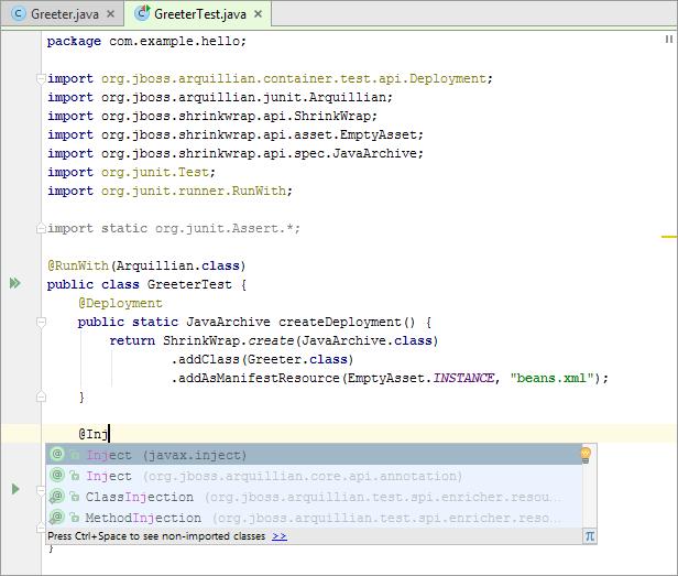 Arq13editor greeter test inject