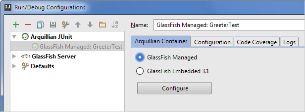 Arq24run configurations dialog