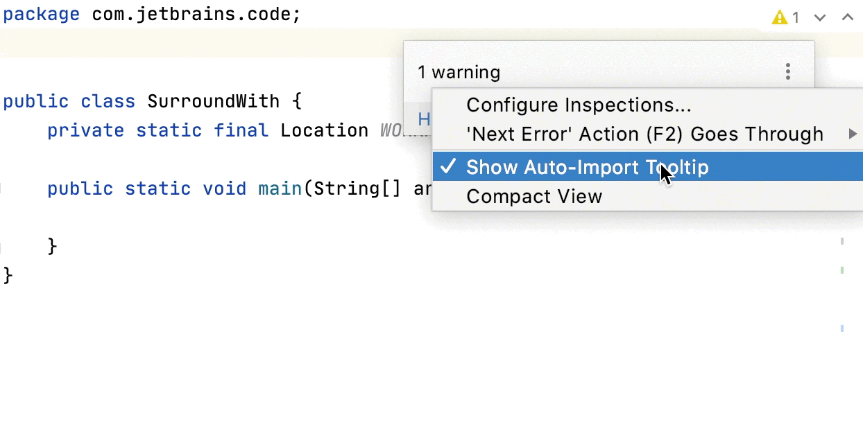 Autoimport with tooltips disabled