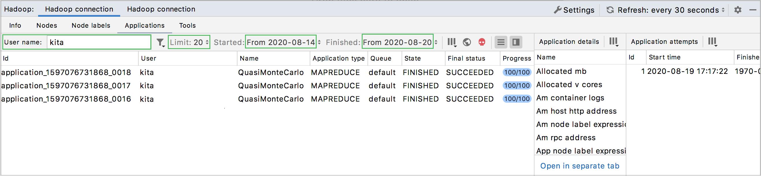 Hadoop monitoring: Applications