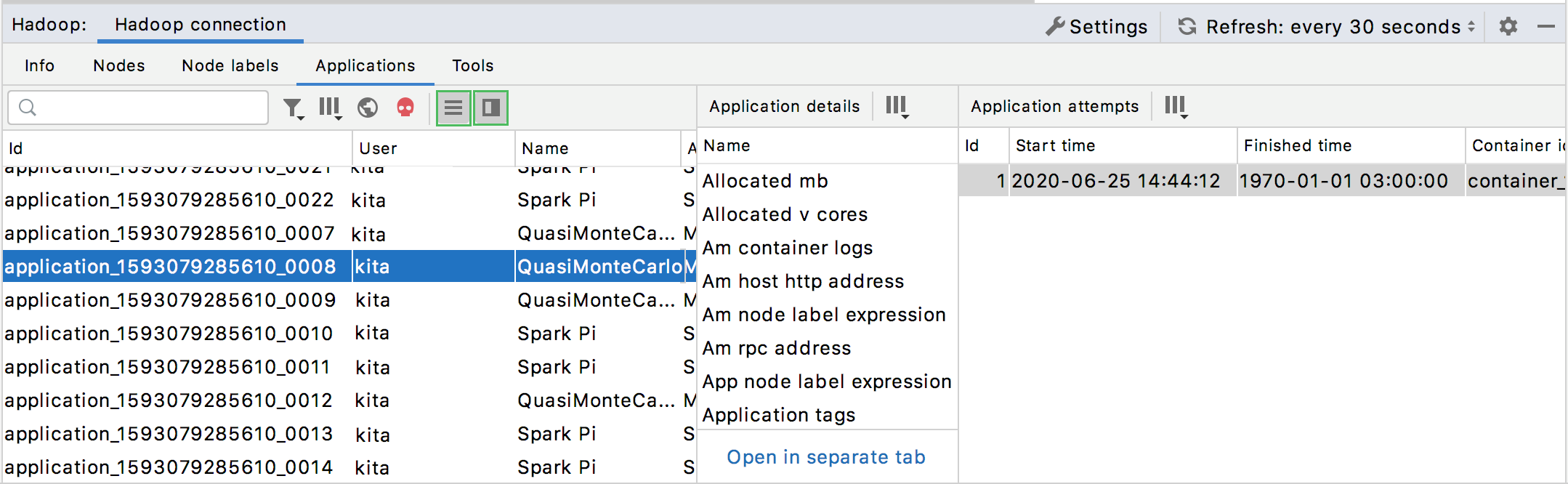 Showing application details