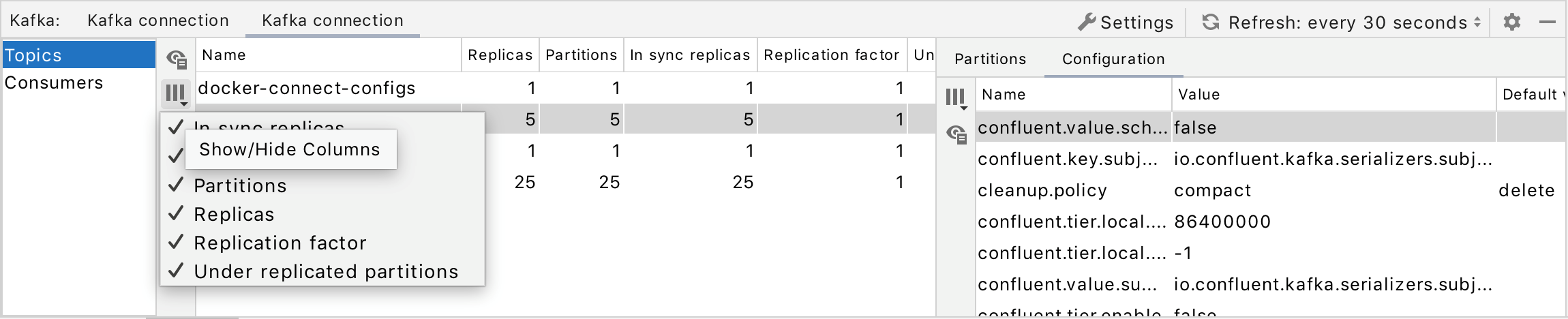 Select columns to show in the table