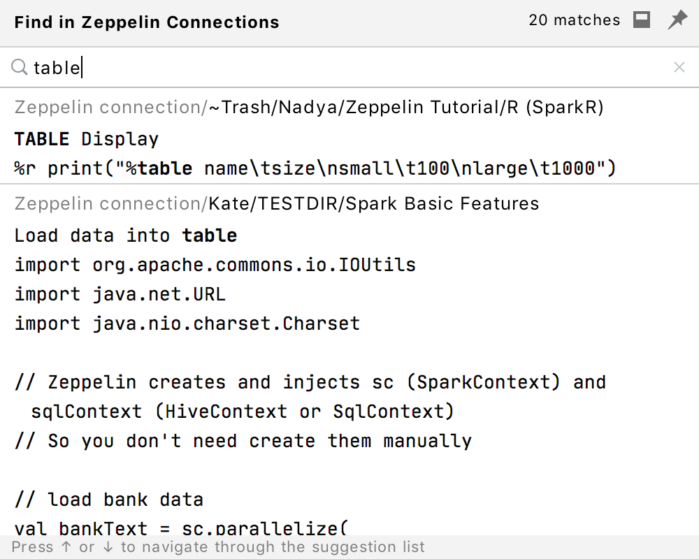 Search in Zeppelin connections