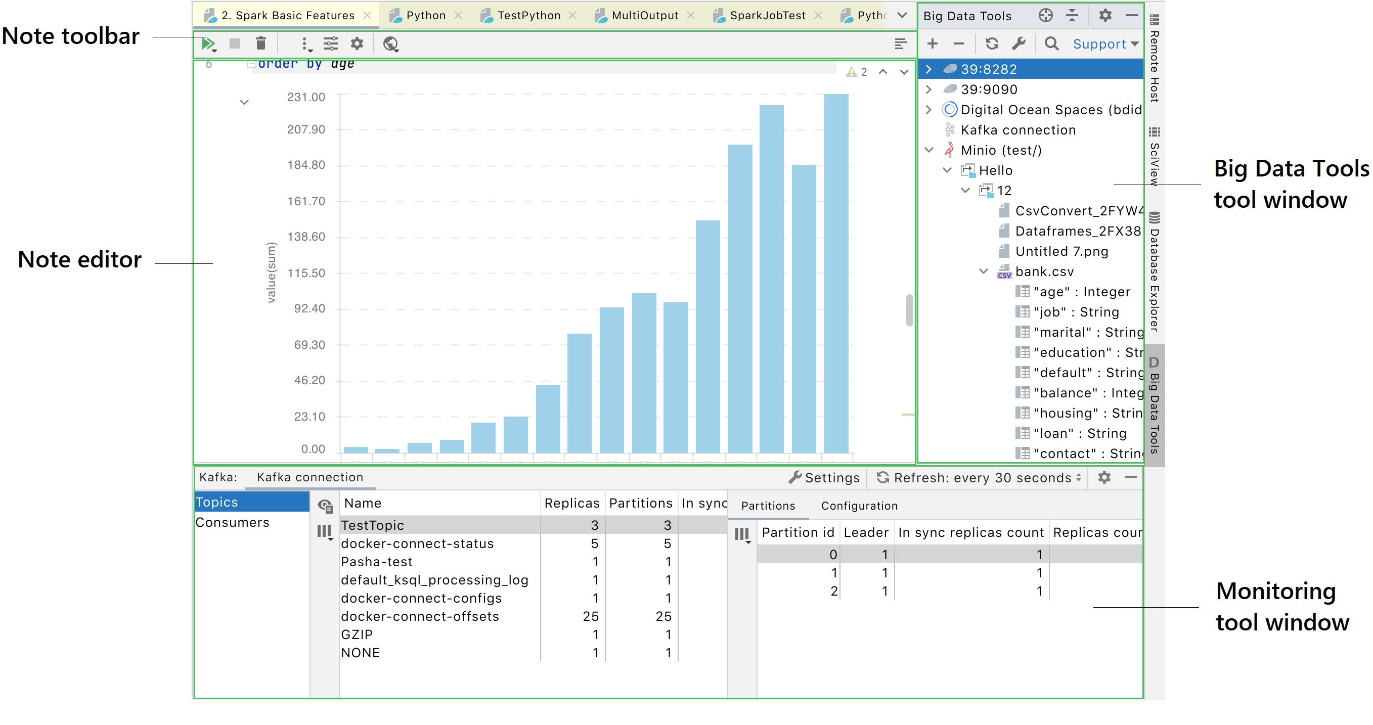 Big data tools UI overview