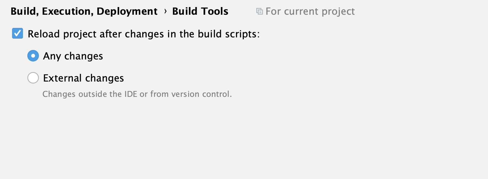 the Build Tools settings