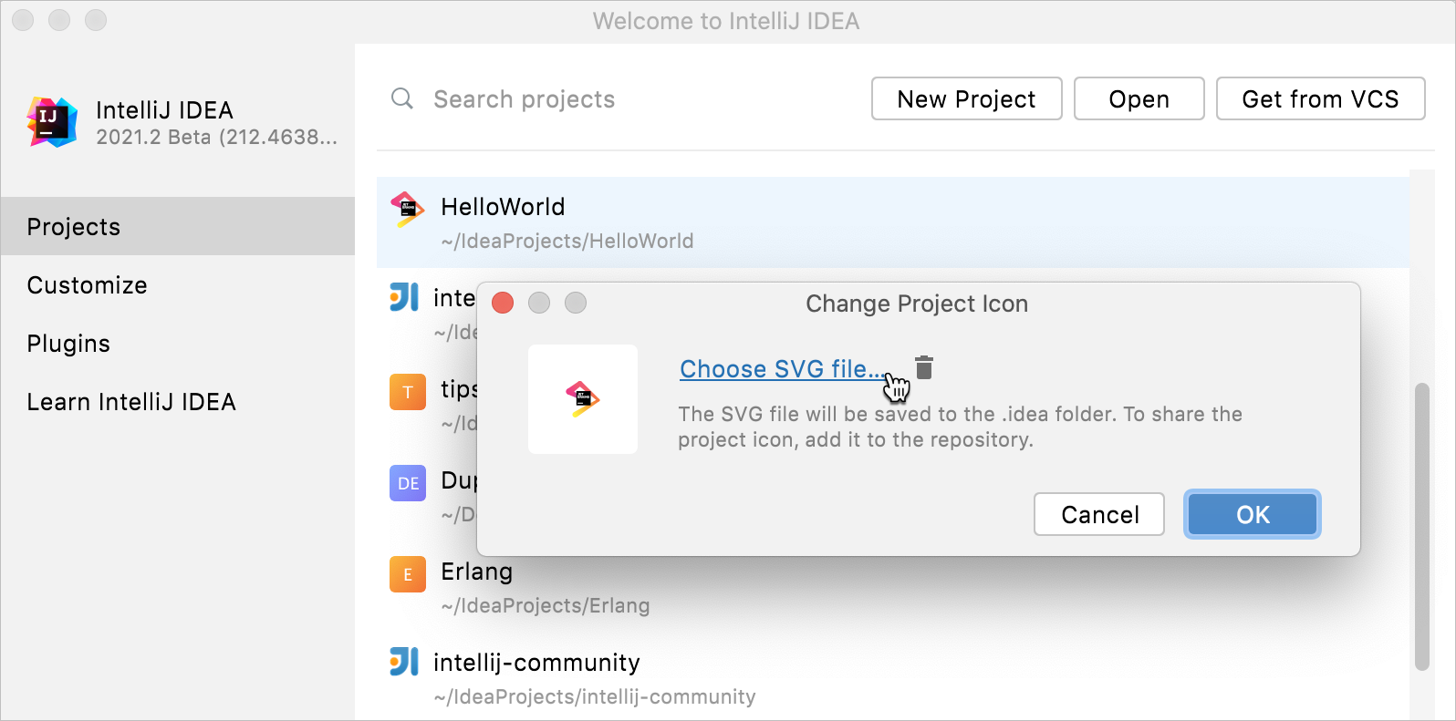 Changing project icon on Welcome screen