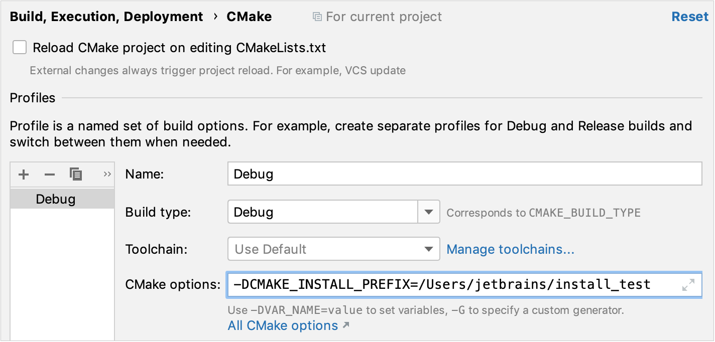CMake install options