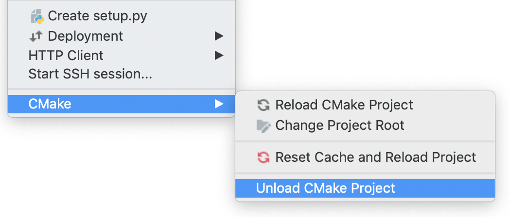 the unload cmake option in the main menu