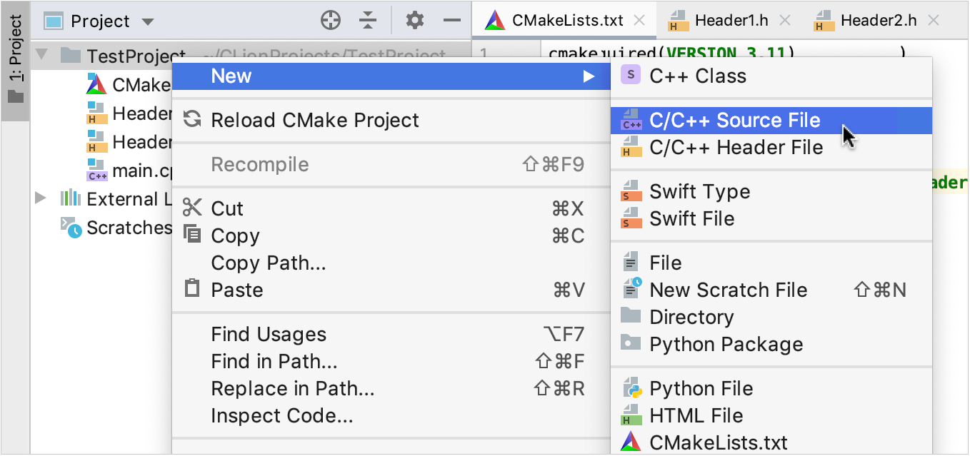 Adding new files from the Project view