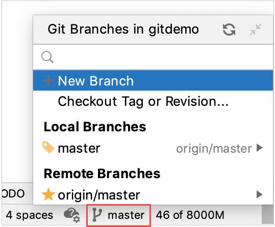 Git branch menu