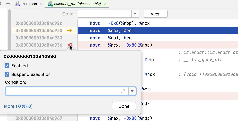 Address breakpoint context menu