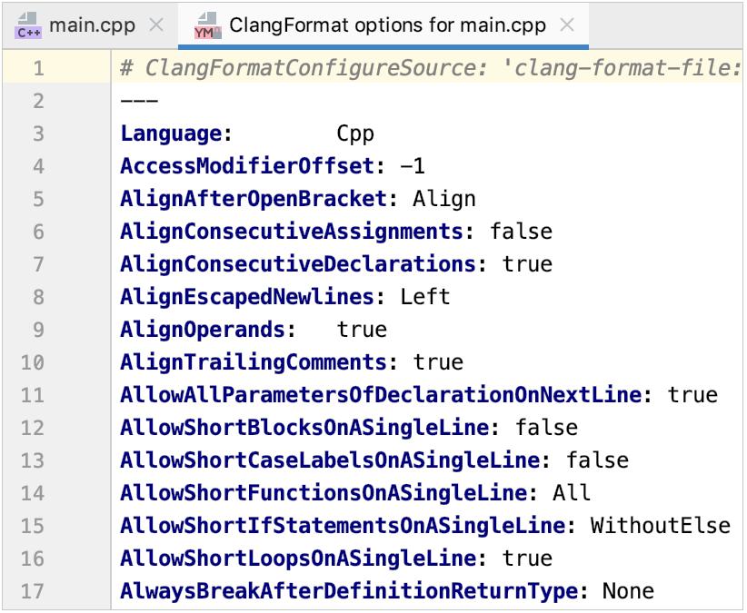 ClangFormat settings file