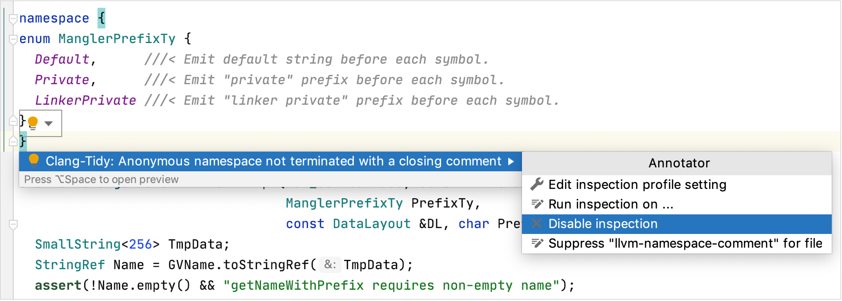 Configuring checks from the context menu