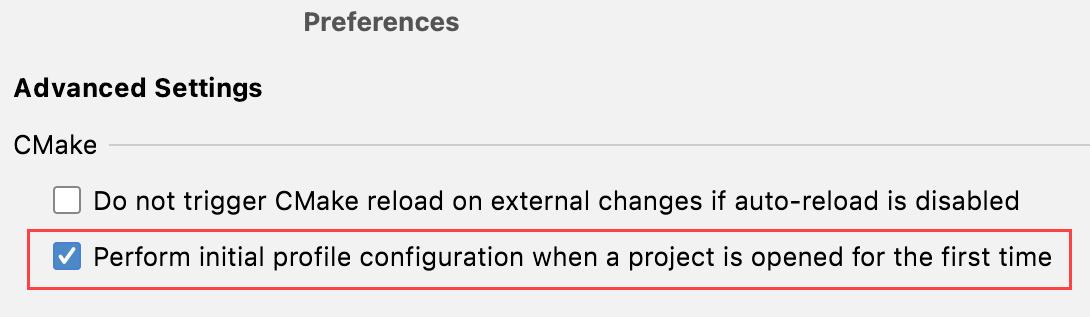 Initial CMake profile configuration setting