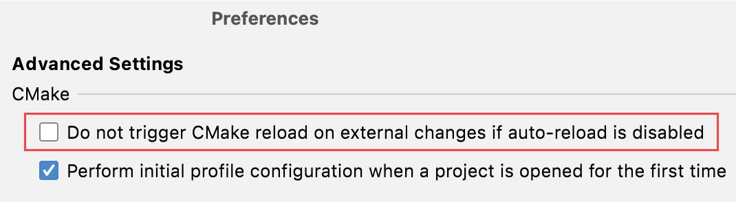 Disabling CMake reload