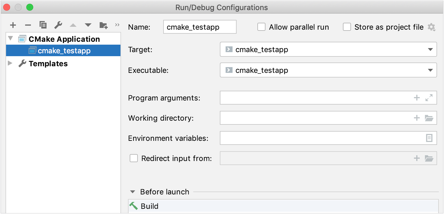 details of the default configuration for a new cmake project