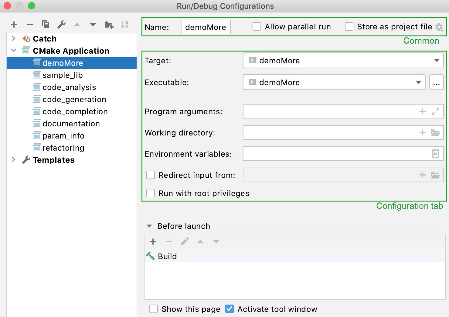 CMake Application configuration