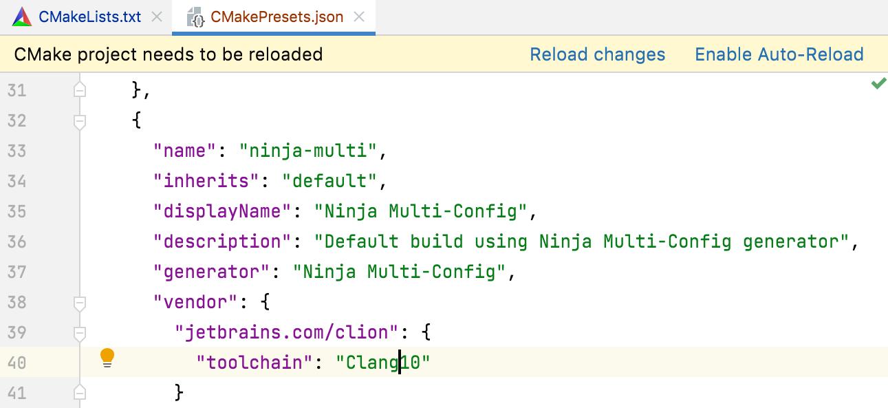 Editing a CMake preset JSOn file