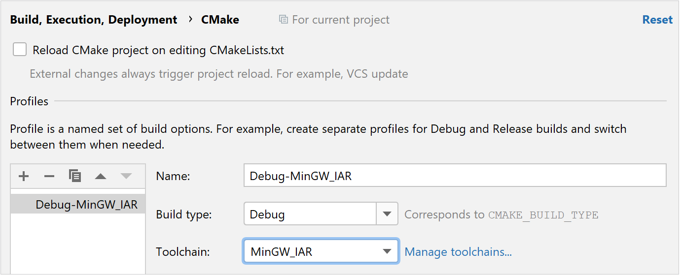 IAR toolchain selected for a CMake profile