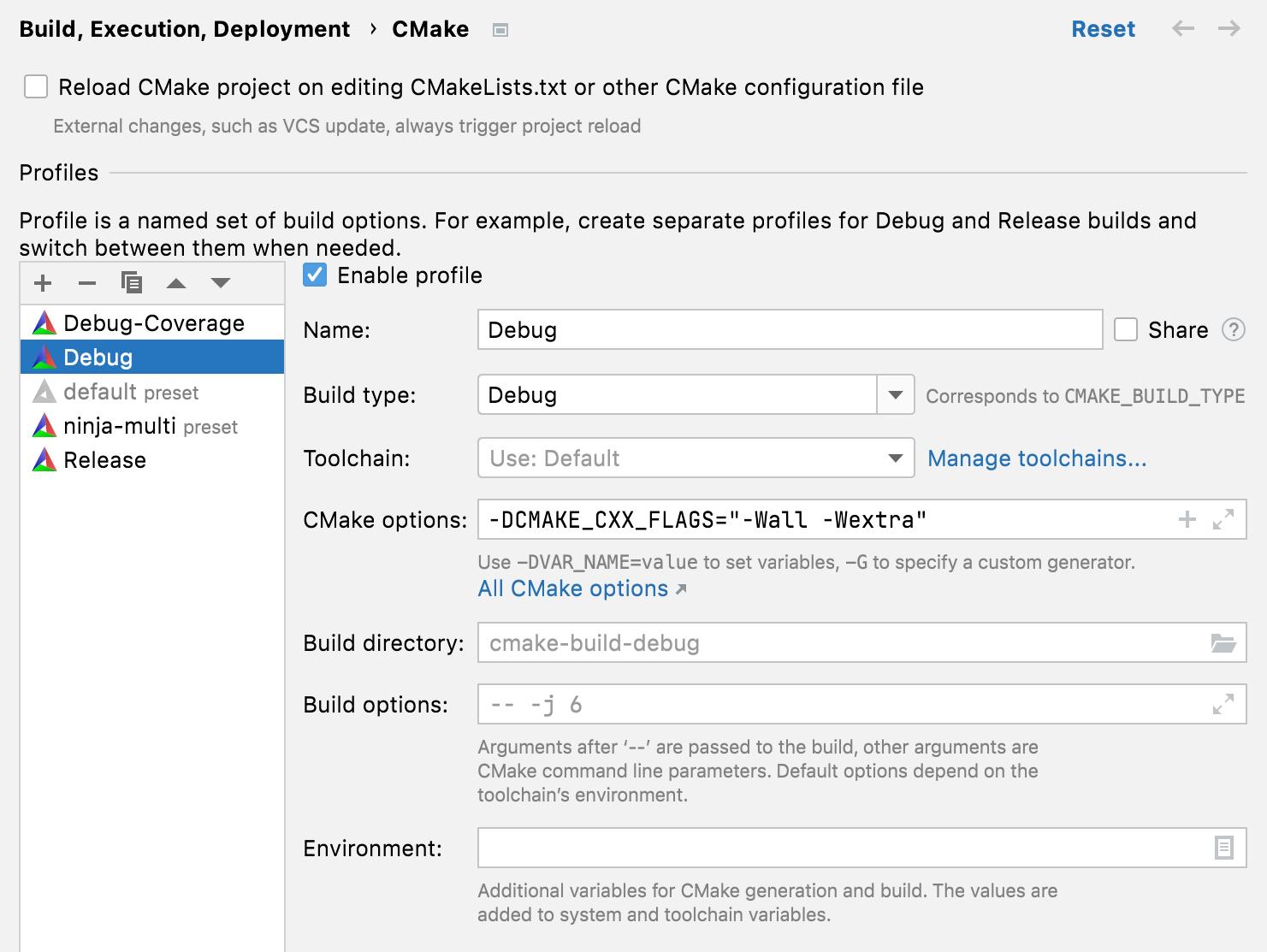 CMake settings dialog