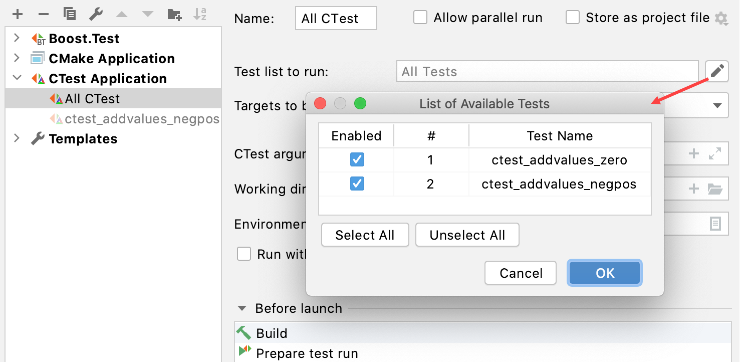 List of the available tests in CTest configuration