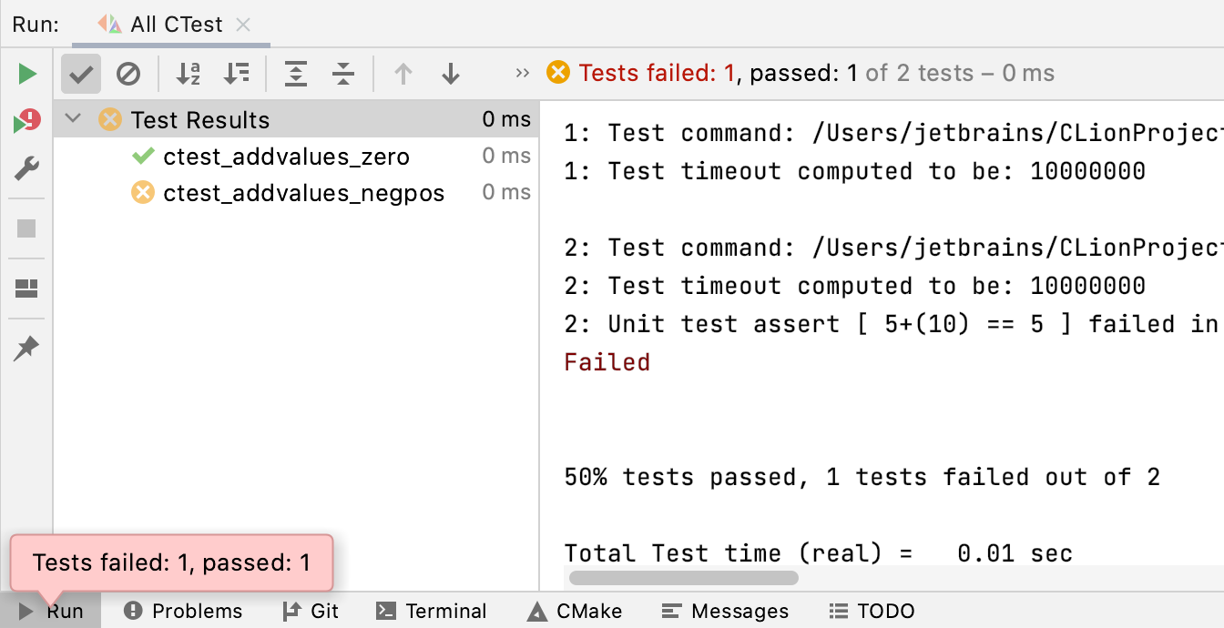 CTest results
