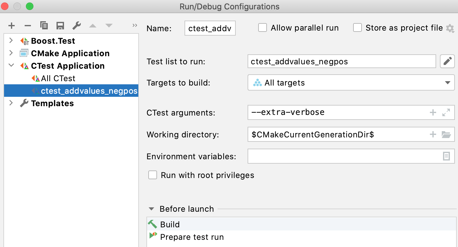 Automatically created CTest configurations