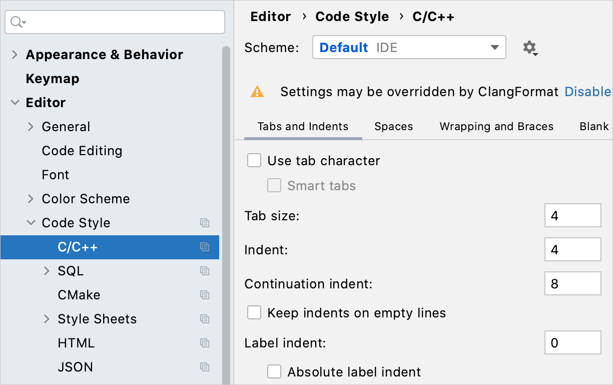 Code style settings for C/C++