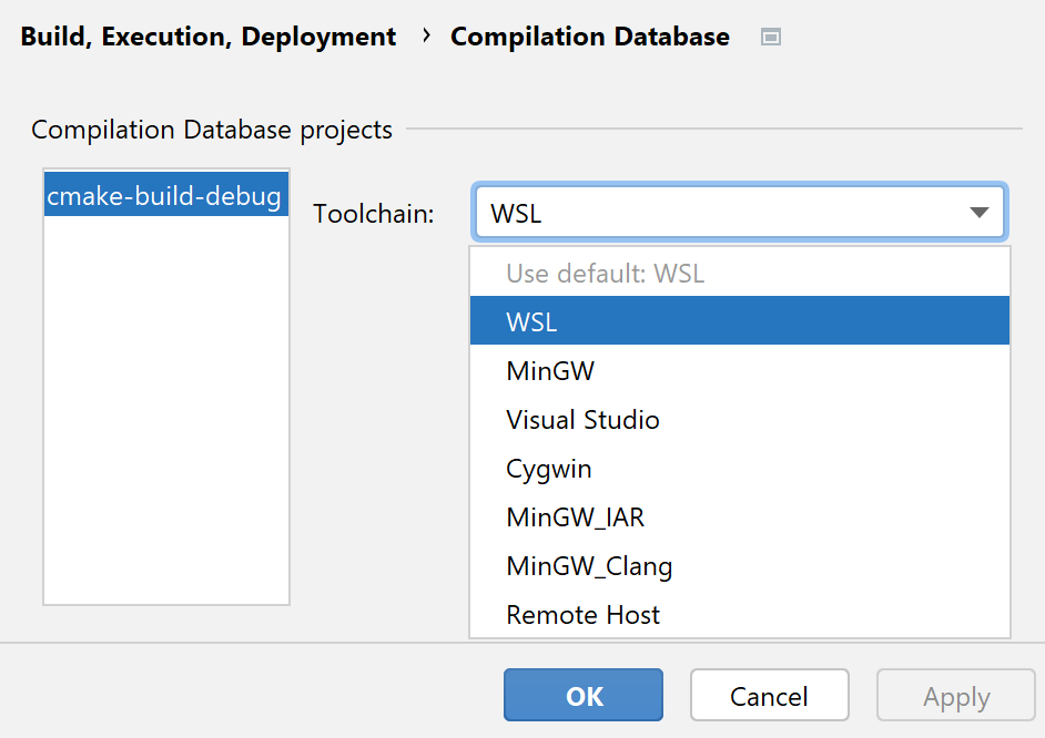 Toolchain for compilation database