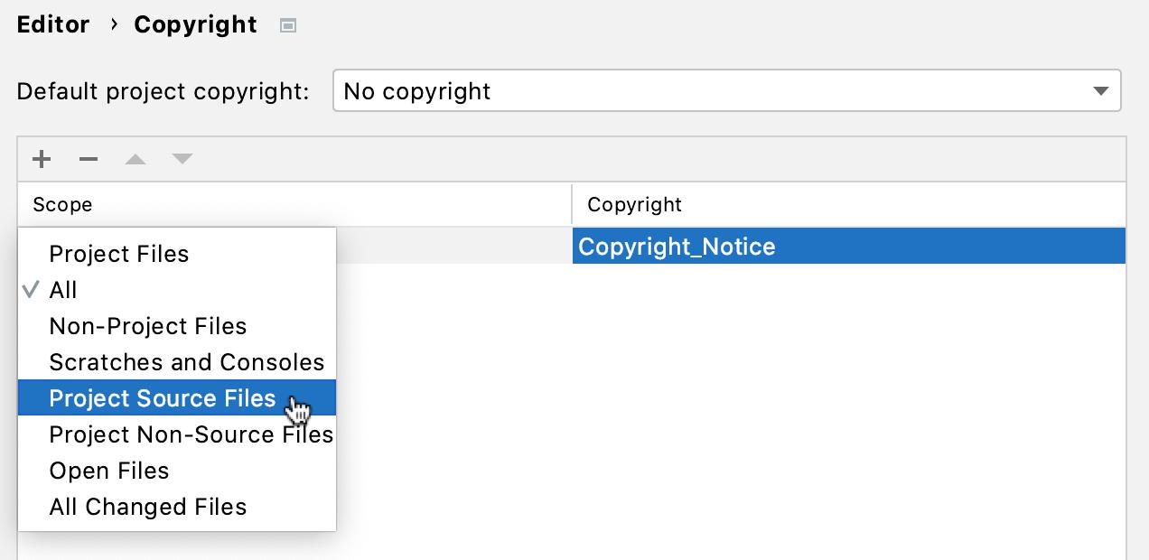 Copyright scopes settings