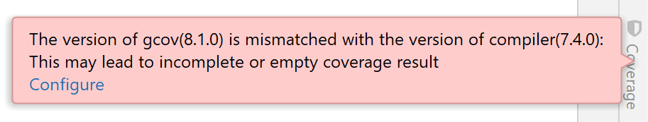 Compiler and coverage tool mismatch notification