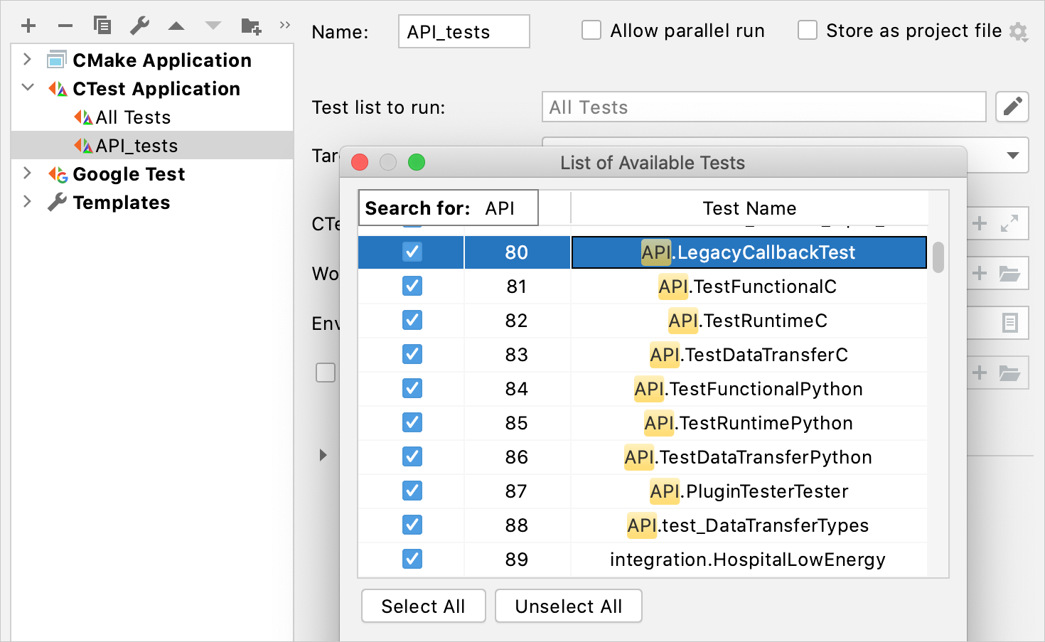 List of the available tests in CTest Application