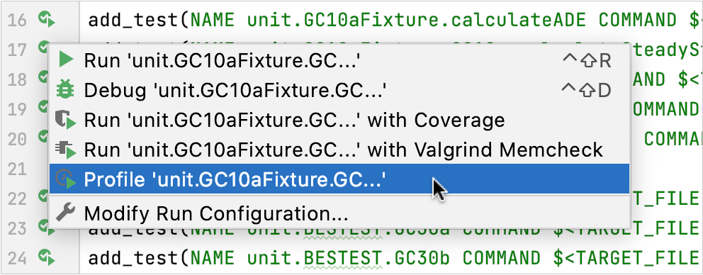 Profiling in the gutter menu for tests