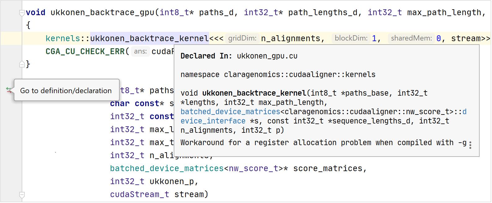 Code insight for CUDA code