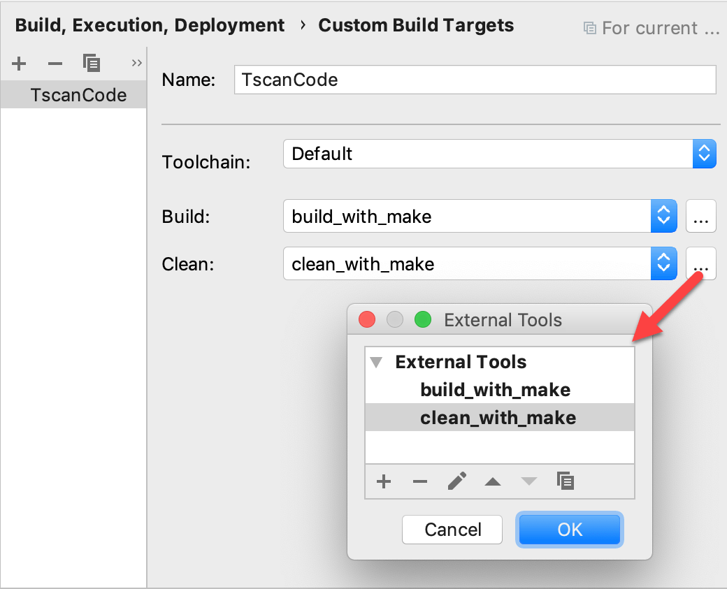 settings for a custom build tagget