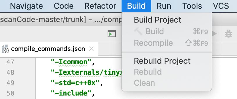 build menu for custom build targets