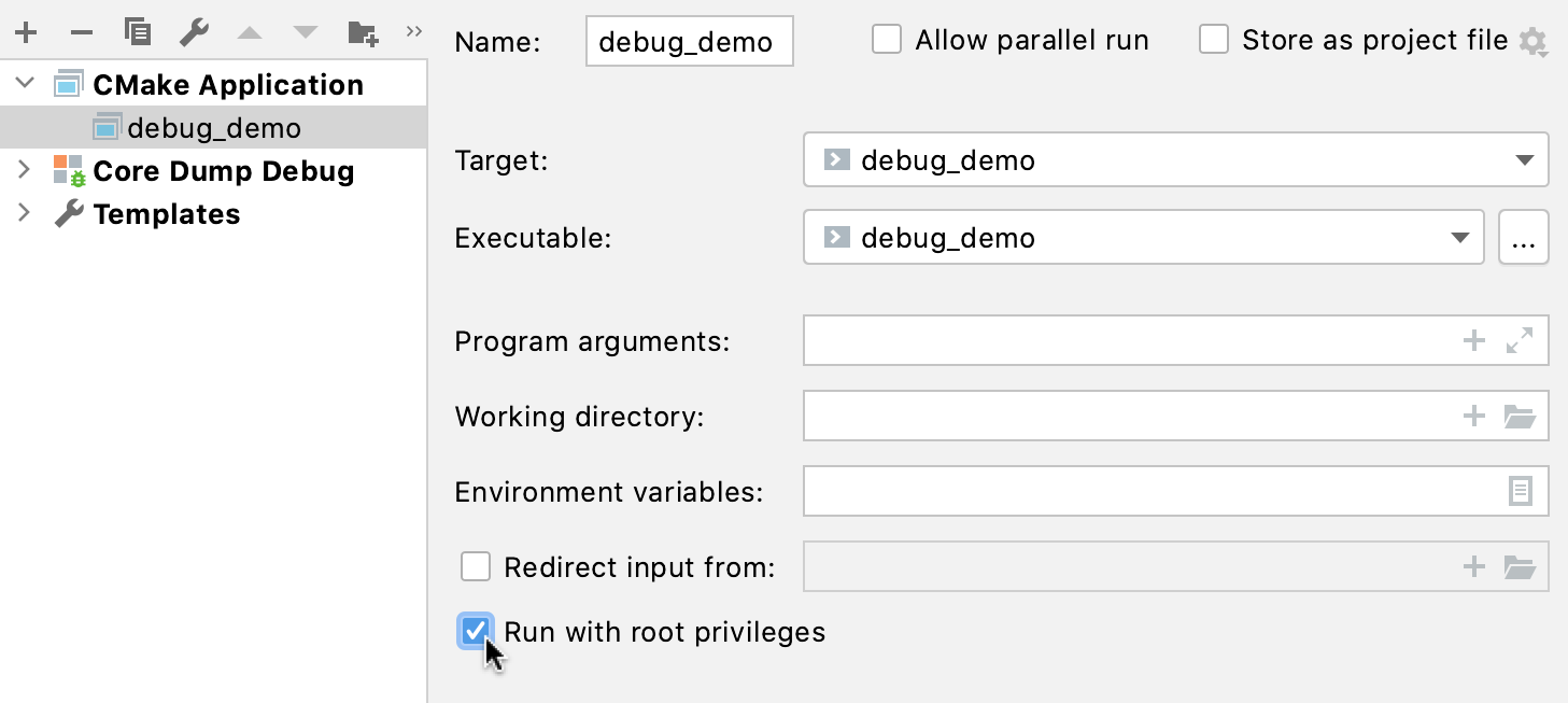 Launch as root checkbox